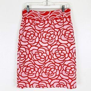 Antonio Melani Red Pink Floral Skirt 4 NWT $119